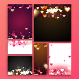 Greeting card for Valentine`s Day Celebration. Set of greeting cards, banners, post, invitation with Hearts decoration for Happy Valentine`s Day Celebration Stock Photography