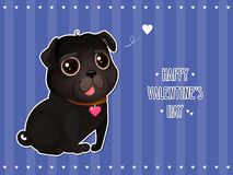 Greeting card for Valentine`s Day with a cute black pug in cut out style. Cartoon black dog with heart on striped background. Vector illustration for a Royalty Free Illustration