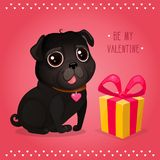 Greeting card for Valentine`s Day with a cute black pug and gift. Cartoon dog with heart. Vector illustration for a postcard or a poster. Text `Be My Valentine Vector Illustration