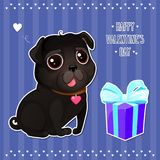 Greeting card for Valentine`s Day with a cute black pug and gift in cut out style. Cartoon dog with heart on striped background. Vector illustration for a Stock Illustration