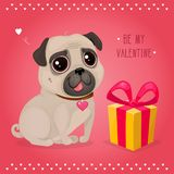 Greeting card for Valentine`s Day with a cute pug and gift. Cartoon dog with heart. Vector illustration for a postcard or a poster. Text `Be My Valentine Vector Illustration