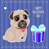 Greeting card for Valentine`s Day with a cute pug and gift in cut out style. Cartoon dog with heart on striped background. Vector illustration for a postcard or Royalty Free Illustration