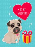 Greeting card for Valentine`s Day with a cute pug and gift in cut out style. Cartoon dog with heart on striped background. Vector illustration for a postcard Royalty Free Illustration