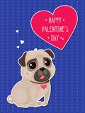 Greeting card for Valentine`s Day with a cute pug and heart in cut out style. Cartoon dog on blue background with hearts. Vector illustration for a postcard or Vector Illustration