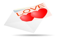 Greeting card for Valentine's Day in an envelope. Royalty Free Stock Images