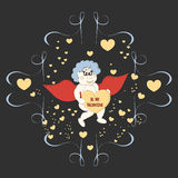 Greeting card for Valentine`s day with fairy boy. Royalty Free Stock Image