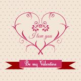 Greeting card for Valentine's Day. Greeting card with floral heart for Valentine's Day Stock Images