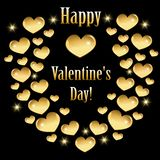 Greeting card for Valentine`s day with golden hearts vector illustration