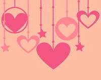 Greeting card for Valentine's day. Heart on beads. Vector illustration Royalty Free Stock Photos