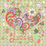 Greeting card for Valentine's day. Heart from a flower pattern. birds. love Stock Images