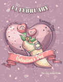 Greeting card for Valentine's Day with hearts, flowers and shoes Royalty Free Stock Photos