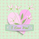 Greeting card for Valentine's Day with hearts and flowers. Vintage. Stock Images