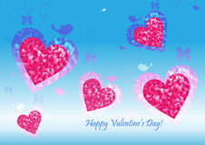 Greeting card for Valentine's Day with hearts Royalty Free Stock Photo