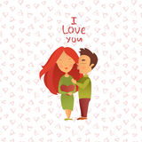 Greeting card with Valentine`s day holiday. Royalty Free Stock Images