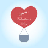 Greeting Card Valentine`s Day with a hot air balloon in the form of heart. Royalty Free Stock Photo
