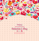 Greeting Card for Valentine`s Day. Illustration Greeting Card for Valentine`s Day. Flat Valentine Icons, Lock and Key, Gift Box, Candles, Sweet Cupcake, Rings Stock Photo