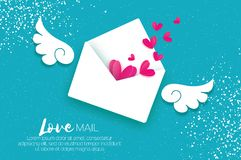Greeting card for Valentine`s day. Mail Love and envelope in paper cut style.. Greeting card for Valentine`s day. Mail Love and envelope in paper cut style Royalty Free Stock Photography