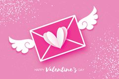 Greeting card for Valentine`s day. Mail Love and envelope. In paper cut style. Origami White Heart and angel wings. Be my valentine. 14 february. Message royalty free illustration
