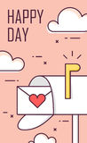 Greeting card for Valentine`s day with mailbox, envelope and clouds. Thin line flat design. Happy Day. Vector Royalty Free Stock Photo