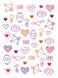 Greeting card for Valentine`s Day, Mother`s Day, Father`s Day, birthday, wedding with hand drawn elements. Doodles, sketch. Vector illustration royalty free illustration