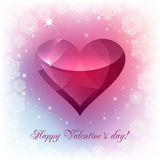 Greeting card for Valentine's Day. With a pink heart on watercolor background Stock Photo