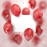Greeting card for Valentine`s day. Red balloons fly around the sheet of paper on which is any of your text. On a pink background.