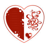 Greeting card for Valentine`s Day. Red heart with the lettering and lines for text. Stock Photo