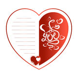 Greeting card for Valentine`s Day. Red heart with the lettering and lines for text. Vector valentine Royalty Free Stock Photography