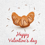 Greeting card. Valentine`s Day. Series with sweets. Croissant with chocolate Royalty Free Stock Images