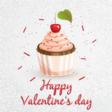 Greeting card. Valentine`s Day. Series with sweets. Cupcake Royalty Free Stock Images