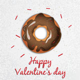 Greeting card. Valentine`s Day. Series with sweets. Doughnut Stock Photos