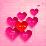 Greeting card for Valentine's Day. set of hearts. I love you, marry me. Vector illustration Royalty Free Stock Image