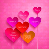 Greeting card for Valentine's Day. set of hearts Stock Photos