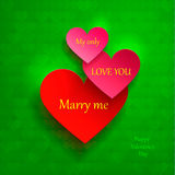 Greeting card for Valentine's Day. set of hearts. I love you, marry me. Vector illustration Stock Images