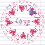 Greeting card for Valentine's day, sketch on a school note book Stock Images
