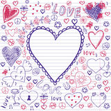 Greeting card for Valentine's day, sketch on a school note book Stock Photography