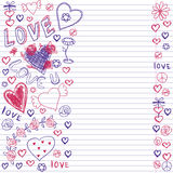 Greeting card for Valentine's day, sketch on a school note book Royalty Free Stock Photography