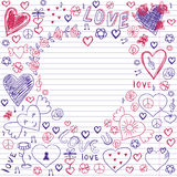 Greeting card for Valentine's day, sketch on a school note book Royalty Free Stock Image