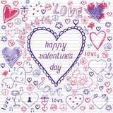 Greeting card for Valentine's day, sketch on a school note book Stock Photos