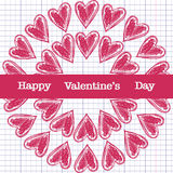 Greeting card for Valentine's day, sketch on a school note book Royalty Free Stock Images