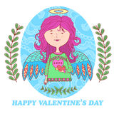 Greeting card for Valentine's day with a sweet angel girl. Greeting card for Valentine's day with a cute angel girl with bird. floral pattern in the background Stock Images
