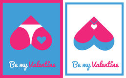 Greeting card for Valentine's day. With vector icon - with butt and chest hearts Royalty Free Stock Image