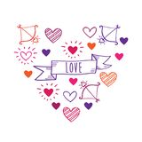 Greeting card for Valentine`s Day, wedding, Mother`s Day, Father`s Day, birthday. Vintage color heart with hand drawn elements. Doodles, sketch. Vector stock illustration