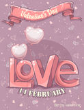 Greeting card for Valentine's Day with the word love and balloon Stock Images