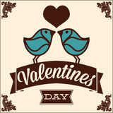 Greeting card for Valentines Day, with  birds Stock Photography
