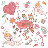 Greeting card for Valentines day with cute angels. Royalty Free Stock Image