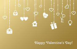 Greeting card for Valentines Day with hanging. Hearts, gifts on a gold background. Vector illustration Royalty Free Stock Photos