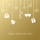Greeting card for Valentines Day with hanging. Vector greeting card for Valentines Day with hanging gifts on a gold background Stock Images