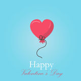 Greeting card for Valentines day with red hearts balloons Royalty Free Stock Photography