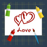 Greeting card Valentines Day. Scarlet hearts drawn on a sheet of paint. Tubes of paint, brushes, paper, mat cutting. Vector greeting card Valentines Day Royalty Free Stock Images